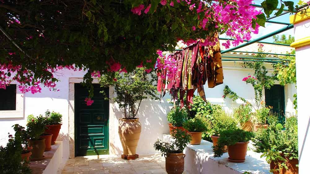 Terrace with flower pots and creeping flowers of bougainvillea in sunny summer day | Best Garden Theme Ideas To Freshen Up Your Garden | garden themes | featured